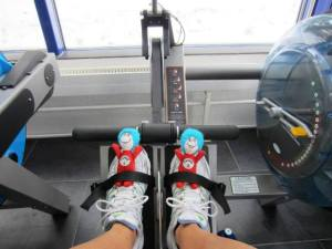 On the rowing machine.